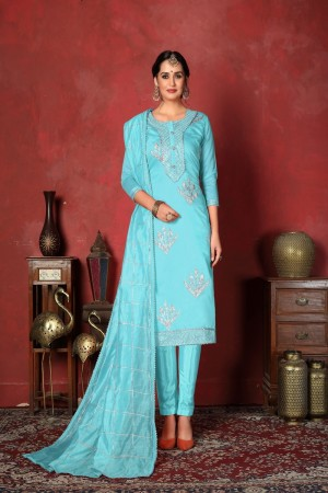 SkyBlue Modal Cotton Salwar Kameez