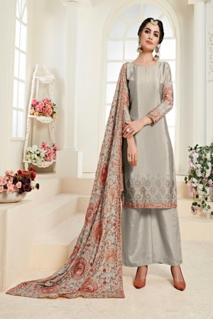 Grey Chinon Salwar Kameez