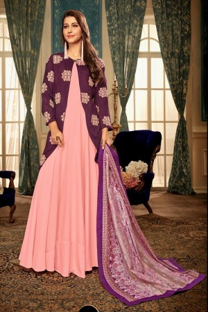 Light Pink & Wine Heavy Maslin Gown with Dupatta