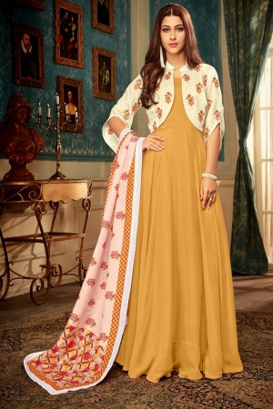 Mustard Heavy Maslin Gown with Dupatta