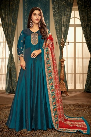 Rama Georgette Satin Gown with Dupatta