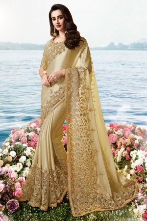 Golden Satin Fancy Fabric Saree with Blouse