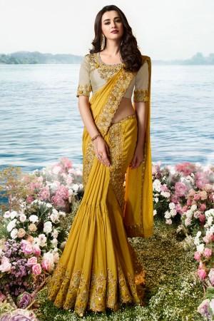 Mustard Satin Fancy Fabric Saree with Blouse