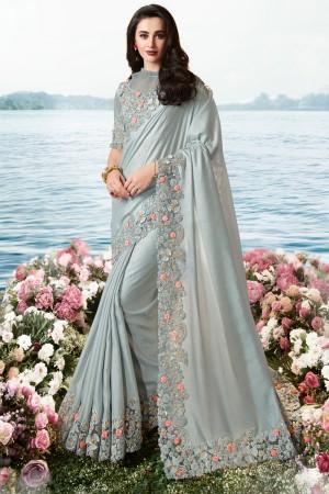 Light Grey Satin Fancy Fabric Saree with Blouse