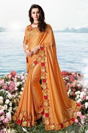 Orange Satin Fancy Fabric Saree with Blouse