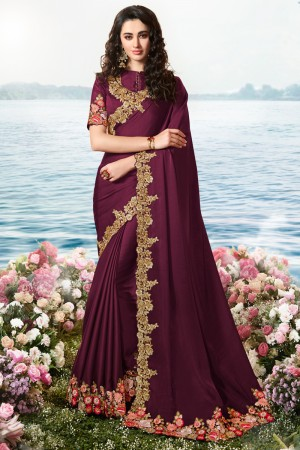 Wine Satin Fancy Fabric Saree with Blouse