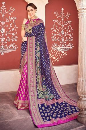 Blue & Pink Lichi Silk Saree with Blouse
