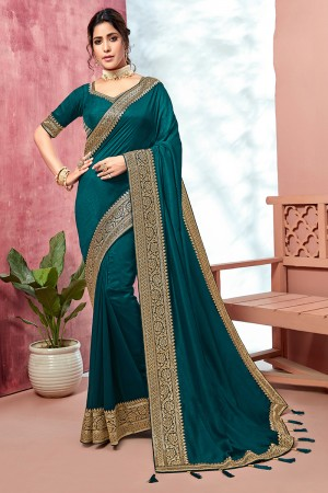 Ocean Chinnon Georgette Saree with Blouse