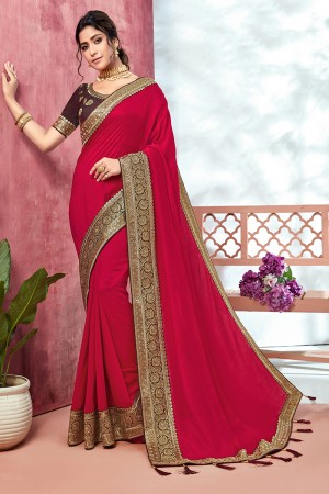 HotPink Chinnon Georgette Saree with Blouse