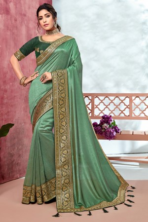 LightGreen Chinnon Georgette Saree with Blouse