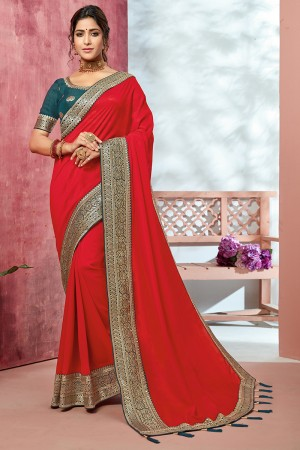 Red Chinnon Georgette Saree with Blouse