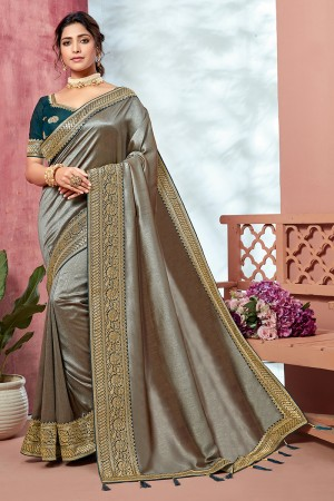 Silver Chinnon Georgette Saree with Blouse