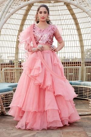 Pink Tissue Lehenga Choli