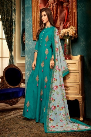 Rama Heavy Maslin Gown with Dupatta