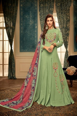ParrotGreen Heavy Maslin Gown with Dupatta