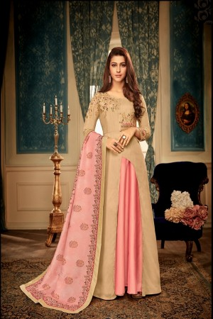 Chiku&Pink Heavy Maslin Gown with Dupatta