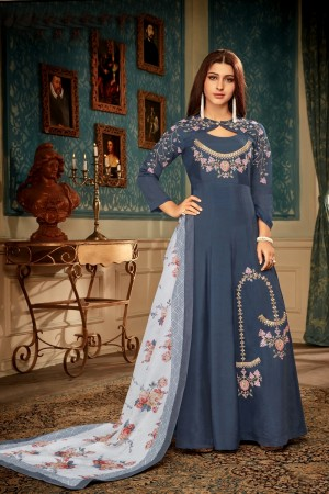 DarkGrey Heavy Maslin Gown with Dupatta