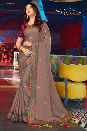 Chocolate Satin Georgette Saree with Blouse