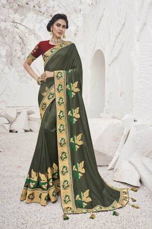 Mahendi Satin Georgette Saree with Blouse