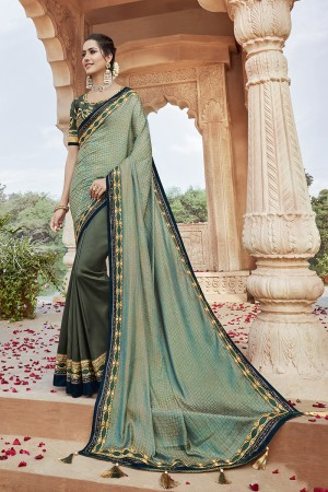 Mehendi Satin Georgette Saree with Blouse