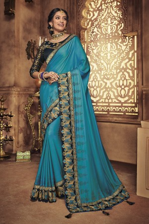 SkyBlue Satin Georgette Saree with Blouse