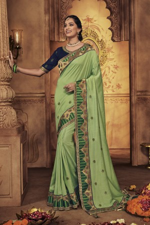 Pista Satin Georgette Saree with Blouse