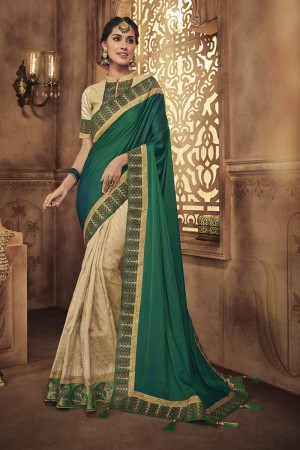 Green&Chiku Satin Georgette Saree with Blouse