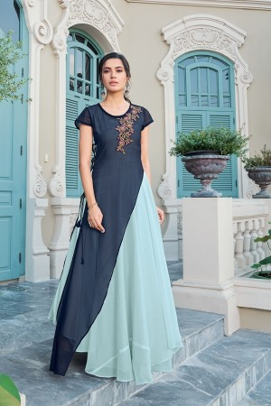 Blue & SkyBlue Georgette Gown