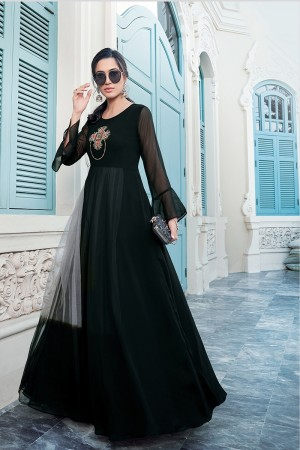 Black & Grey Georgette Gown