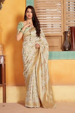 White Banarasi Silk Saree with Blouse