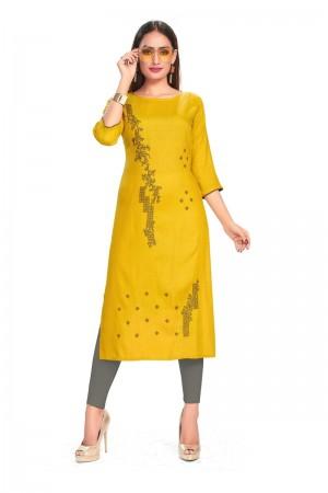 Yellow Rayon Kurti