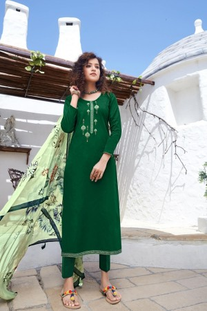 Dark Green Jam Silk Dress material