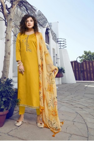 Yellow Jam Silk Dress material
