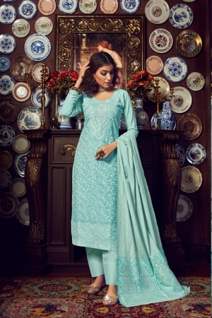 SkyBlue Handloom Weaving Cotton Jacquard Dress material