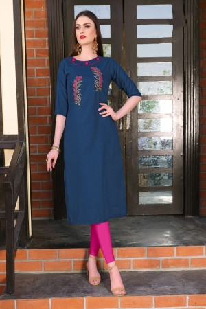 Blue Rubby Silk Kurti