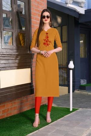 Mustard Rubby Silk Kurti
