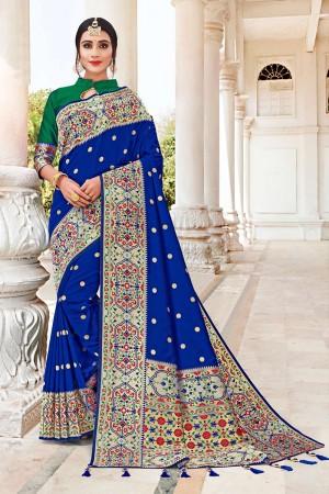 Blue Banarasi Jacquard Saree with Blouse