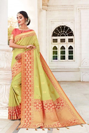 Limeyellow Banarasi Jacquard Saree with Blouse