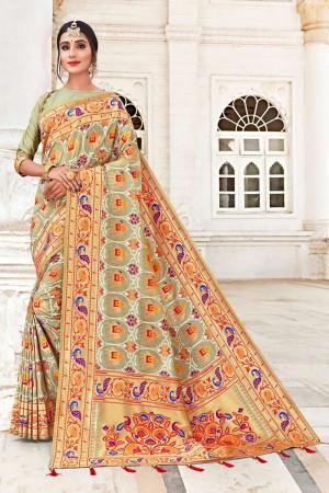 Light Mehendi Banarasi Jacquard Saree with Blouse
