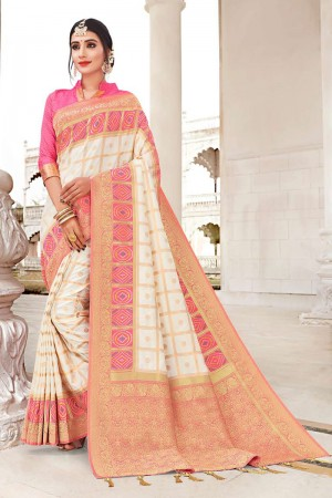 White Banarasi Jacquard Saree with Blouse