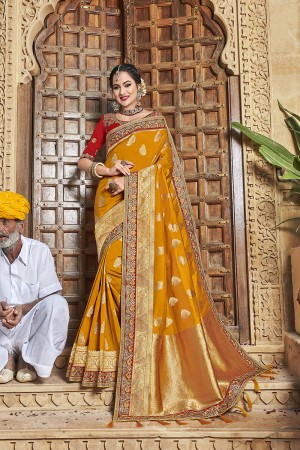 Mustard Banarasi Jacquard Saree with Blouse