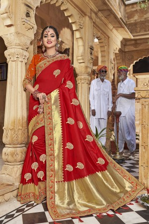 Red Banarasi Jacquard Saree with Blouse