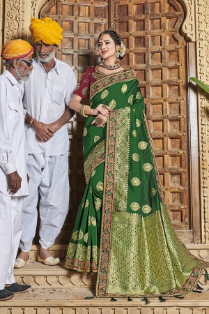 DarkGreen Banarasi Jacquard Saree with Blouse