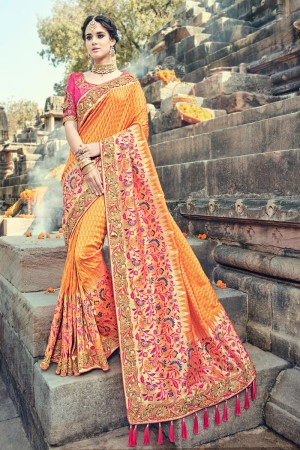 Mustard Jacquard Silk Embroidered Saree