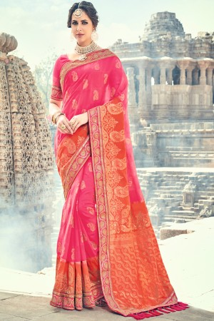 Orange,Pink Jacquard Silk Embroidered Saree