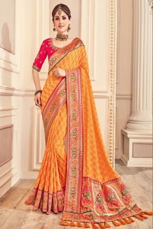 Majestic Orange Jaquard Embroidered Saree with Blouse piece