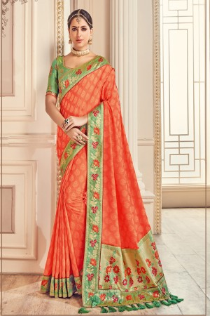 Sensuous Orange Jaquard Embroidered Saree with Blouse piece