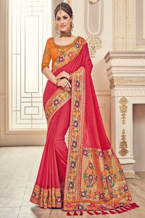 Glamorous pink Jaquard Embroidered Saree with Blouse piece