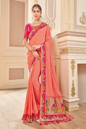 Aesthetic Peach Jaquard Embroidered Saree with Blouse piece