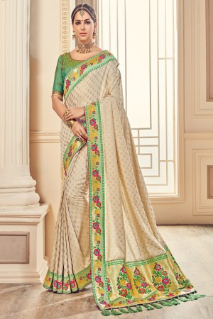Beige Jaquard Embroidered Saree